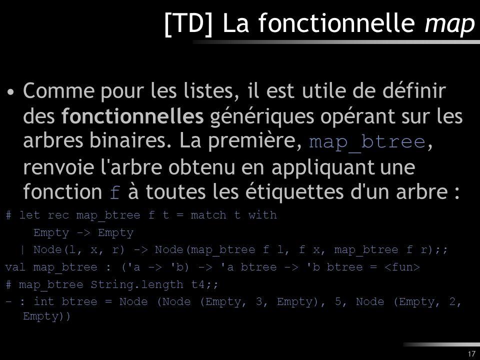 17 [TD] La fonctionnelle map Comme pour les listes, il est utile de définir des fonctionnelles génériques opérant sur les arbres binaires. La première