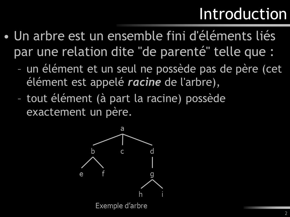2 Introduction Un arbre est un ensemble fini d'éléments liés par une relation dite