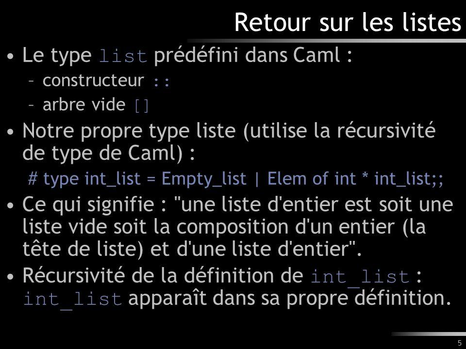 6 Retour sur les listes (2) Exemple de fonctions utilisant le type int_list : # let rec somme_int l = match l with Empty_list -> 0 | Elem(tdl, reste) -> tdl + (somme_int reste);; val somme_int : int_list -> int = # let liste1 = Elem(1, Elem(2, Elem(3, Empty_list)));; val liste1 : int_list = Elem (1, Elem (2, Elem (3, Empty_list))) # somme_int liste1;; - : int = 6