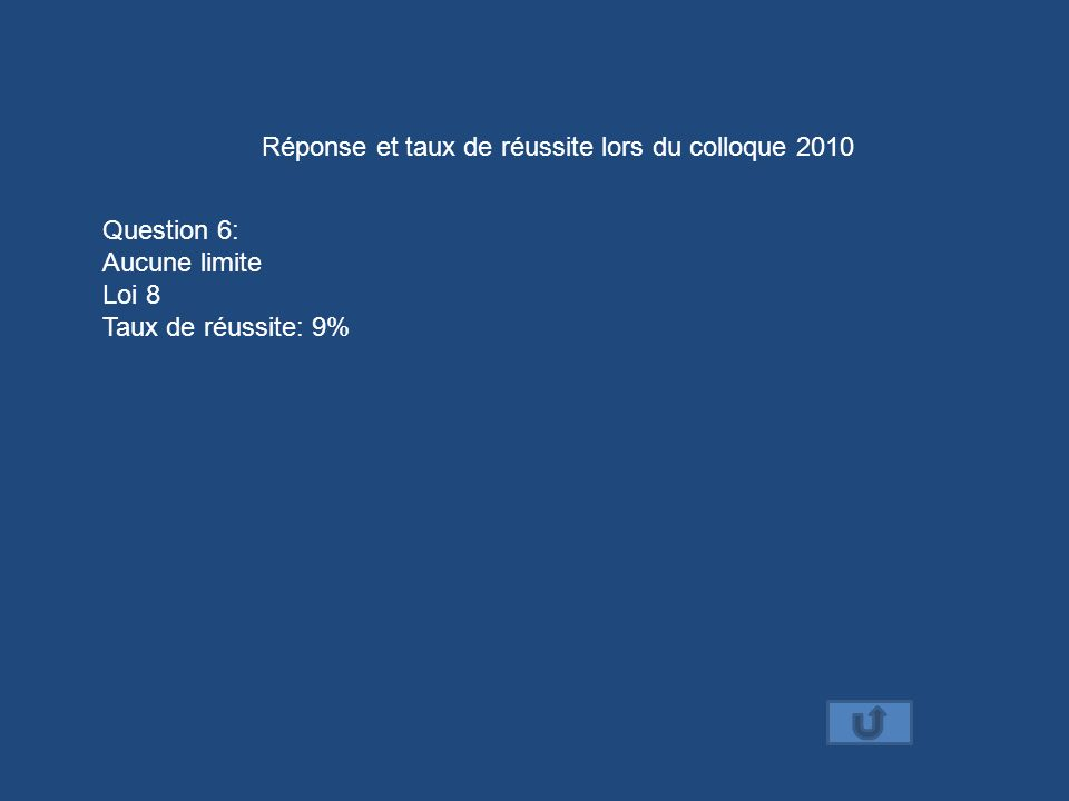 Réponse et taux de réussite lors du colloque 2010 Question 6: Aucune limite Loi 8 Taux de réussite: 9%
