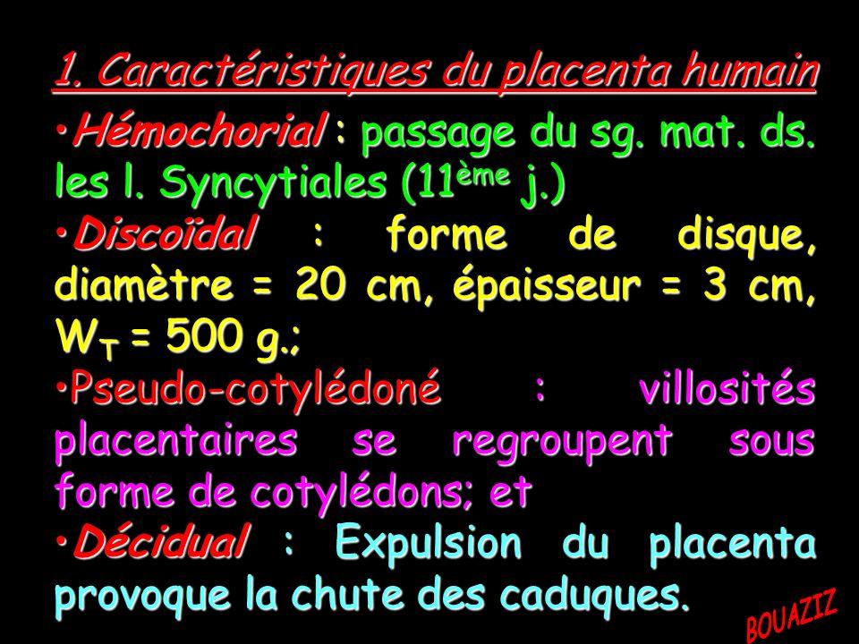 1. Caractéristiques du placenta humain Hémochorial : passage du sg. mat. ds. les l. Syncytiales (11ème j.) Discoïdal : forme de disque, diamètre = 20