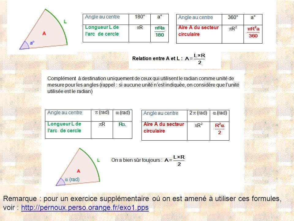 Remarque : pour un exercice supplémentaire où on est amené à utiliser ces formules, voir : http://pernoux.perso.orange.fr/exo1.ppshttp://pernoux.perso
