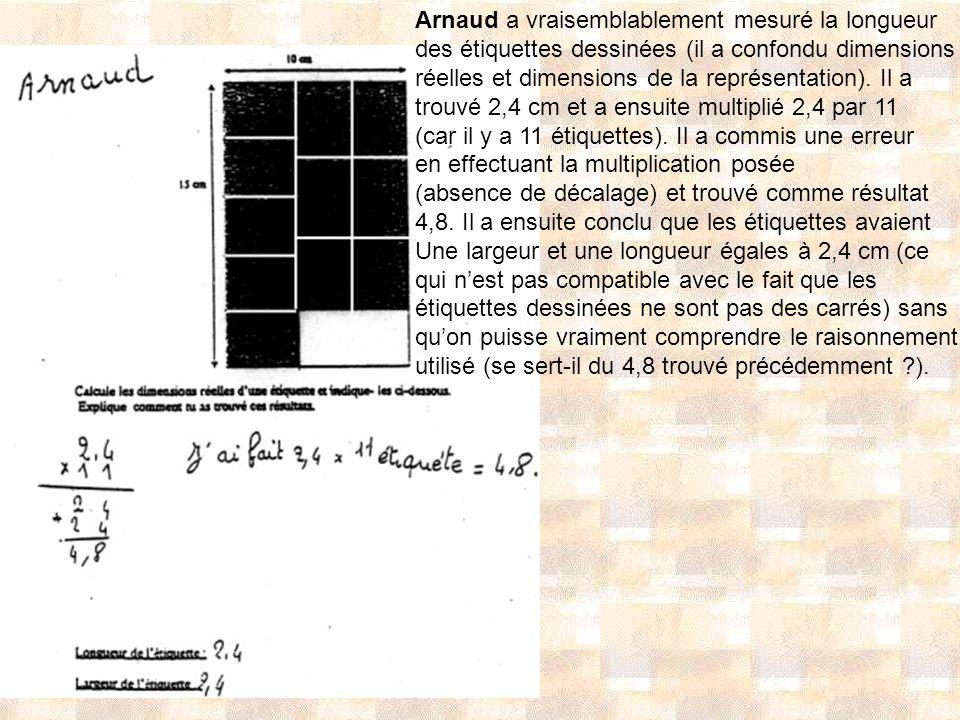 Arnaud a vraisemblablement mesuré la longueur des étiquettes dessinées (il a confondu dimensions réelles et dimensions de la représentation). Il a tro