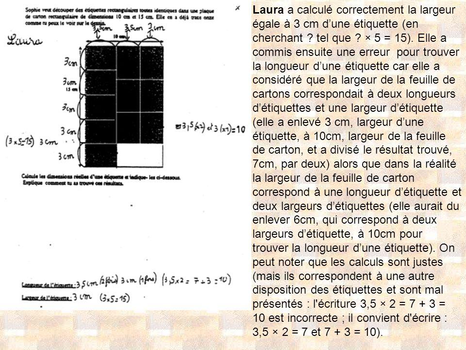 Laura a calculé correctement la largeur égale à 3 cm dune étiquette (en cherchant ? tel que ? × 5 = 15). Elle a commis ensuite une erreur pour trouver