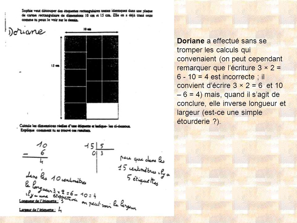 Doriane a effectué sans se tromper les calculs qui convenaient (on peut cependant remarquer que lécriture 3 × 2 = 6 - 10 = 4 est incorrecte ; il convi