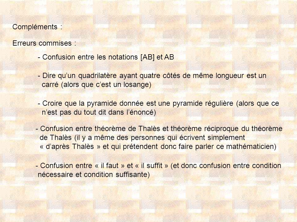 Compléments : Erreurs commises : - Confusion entre les notations [AB] et AB - Dire quun quadrilatère ayant quatre côtés de même longueur est un carré