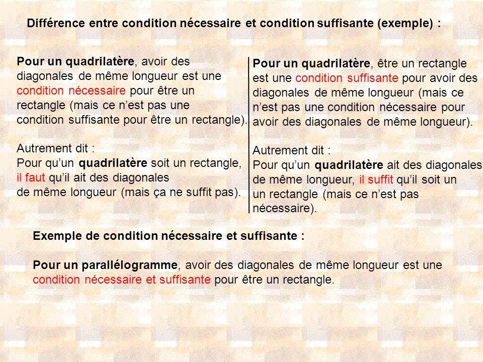 Différence entre condition nécessaire et condition suffisante (exemple) : Pour un quadrilatère, avoir des diagonales de même longueur est une conditio