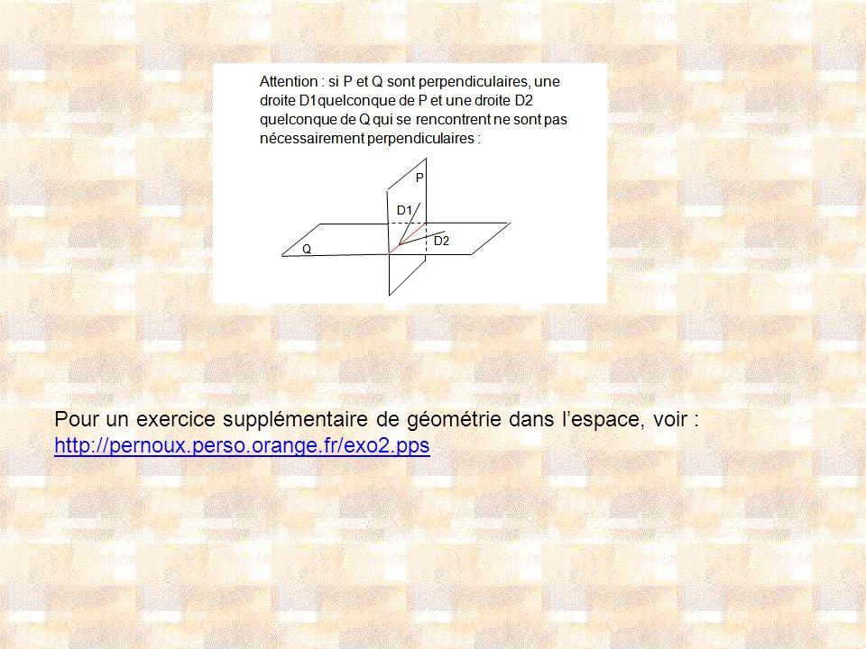 Pour un exercice supplémentaire de géométrie dans lespace, voir : http://pernoux.perso.orange.fr/exo2.pps
