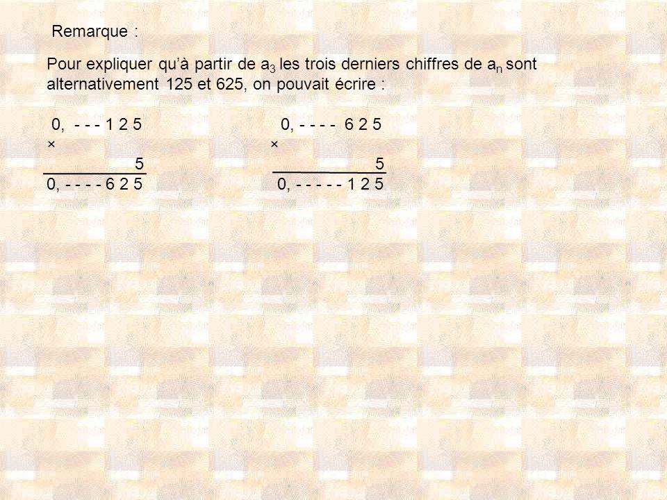 Pour expliquer quà partir de a 3 les trois derniers chiffres de a n sont alternativement 125 et 625, on pouvait écrire : 0, - - - 1 2 5 0, - - - - 6 2