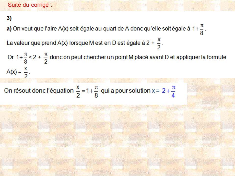 Autre méthode : On peut aussi trouver x en disant que, comme l aire du triangle AOB vaut un quart de l aire du carré ABCD, A(x) vaut un quart de A quand M est situé en un point P du demi-cercle de diamètre [BC] tel que le secteur circulaire BOP ait pour aire le quart de l aire du demi-disque.