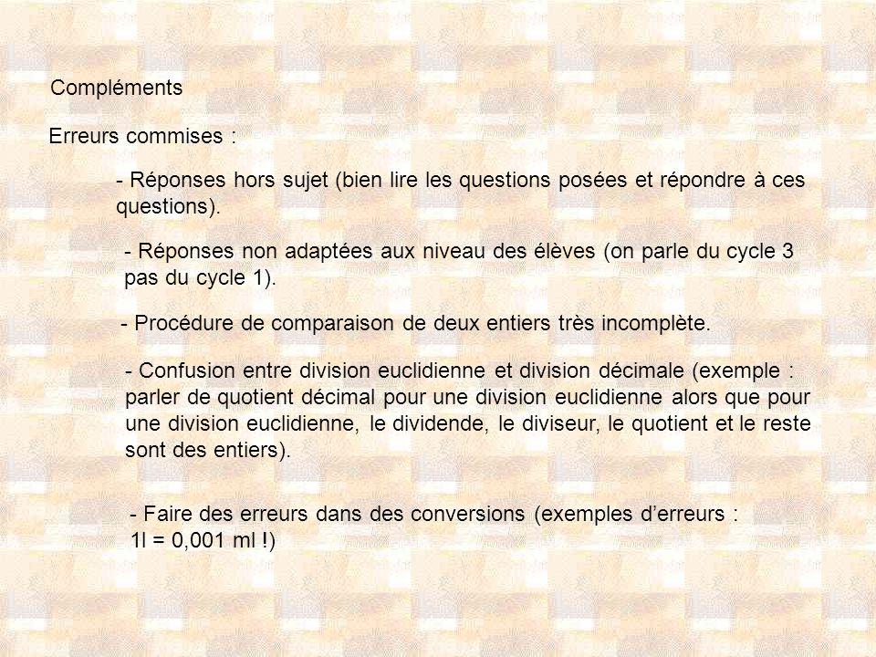 Compléments Erreurs commises : - Réponses hors sujet (bien lire les questions posées et répondre à ces questions). - Réponses non adaptées aux niveau