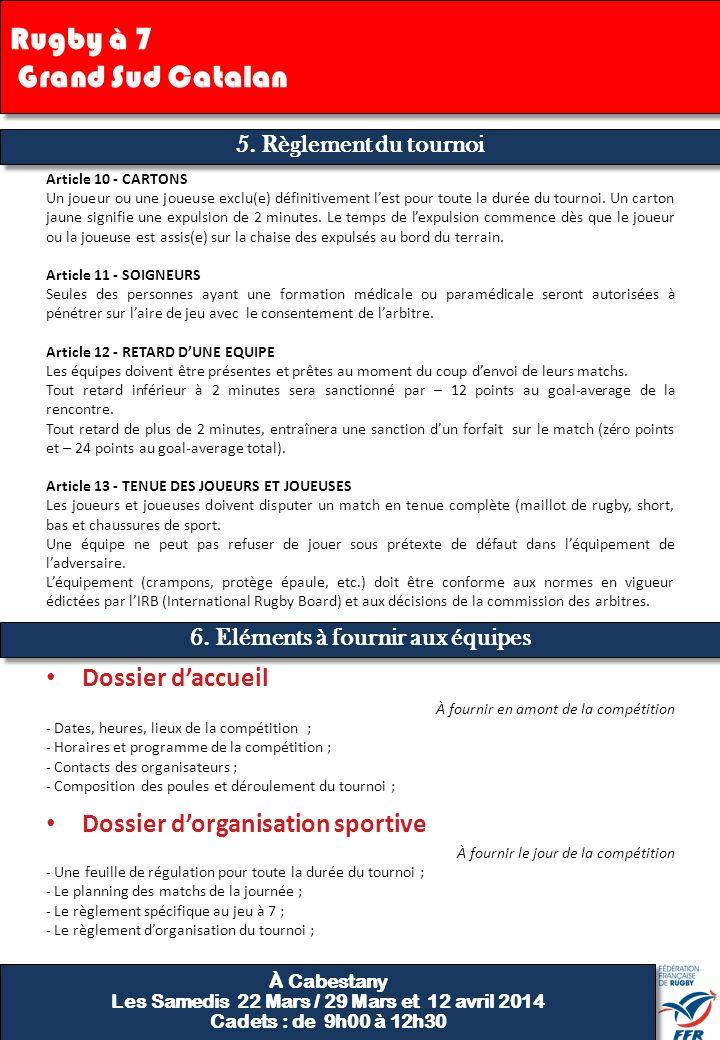 5. Règlement du tournoi Article 10 - CARTONS Un joueur ou une joueuse exclu(e) définitivement lest pour toute la durée du tournoi. Un carton jaune sig
