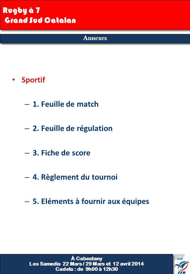 Annexes Sportif – 1. Feuille de match – 2. Feuille de régulation – 3. Fiche de score – 4. Règlement du tournoi – 5. Eléments à fournir aux équipes 7 A