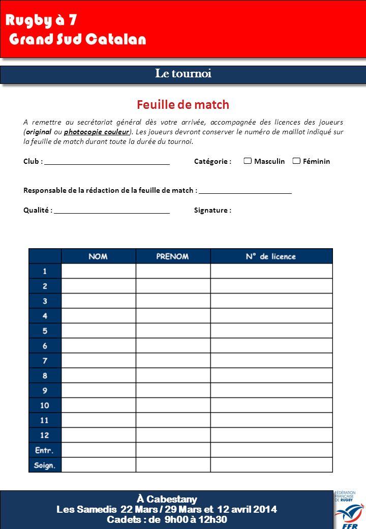 Finale Feuille de régulation 9 Club : Catégorie : Masculin Féminin Indiquer les joueurs titulaires par la mention « T » dans la colonne correspondante au match joué.