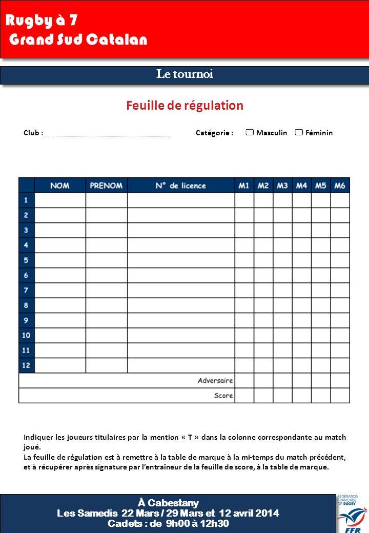 Finale Feuille de régulation 9 Club : Catégorie : Masculin Féminin Indiquer les joueurs titulaires par la mention « T » dans la colonne correspondante