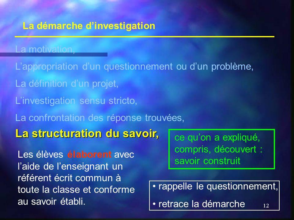 12 La démarche dinvestigation La motivation, Lappropriation dun questionnement ou dun problème, La définition dun projet, Linvestigation sensu stricto