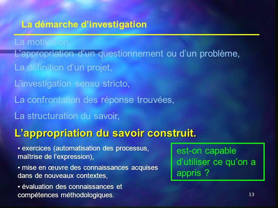13 La démarche dinvestigation La motivation, Lappropriation dun questionnement ou dun problème, La définition dun projet, Linvestigation sensu stricto
