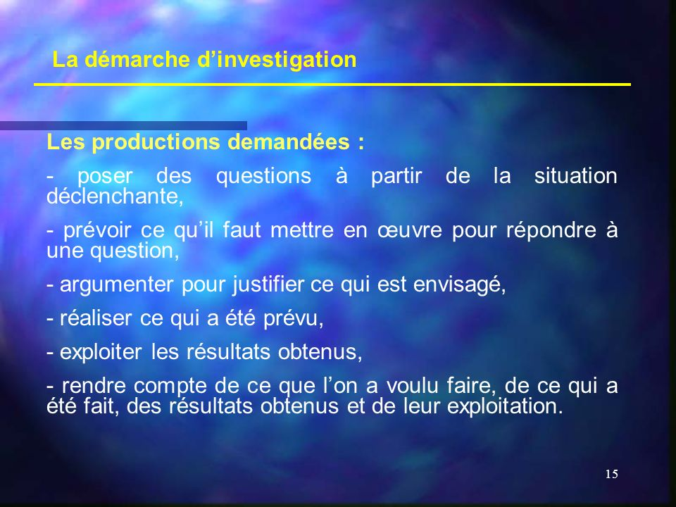 15 La démarche dinvestigation Les productions demandées : - poser des questions à partir de la situation déclenchante, - prévoir ce quil faut mettre e