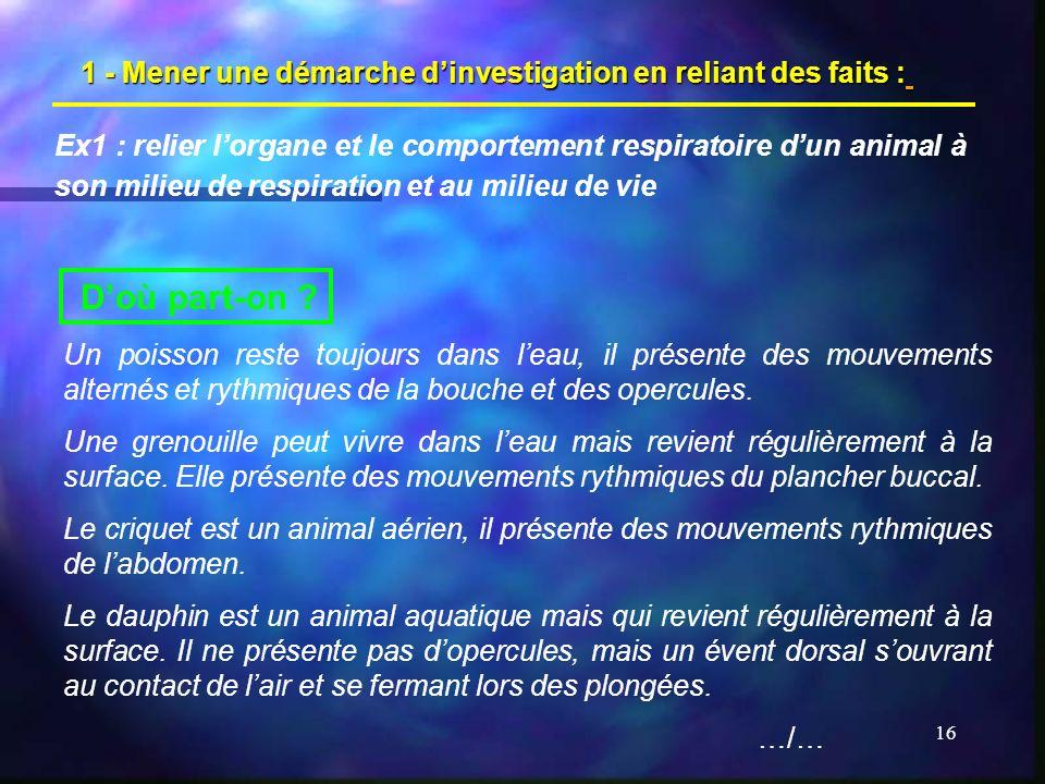 16 1 - Mener une démarche dinvestigation en reliant des faits : Ex1 : relier lorgane et le comportement respiratoire dun animal à son milieu de respir