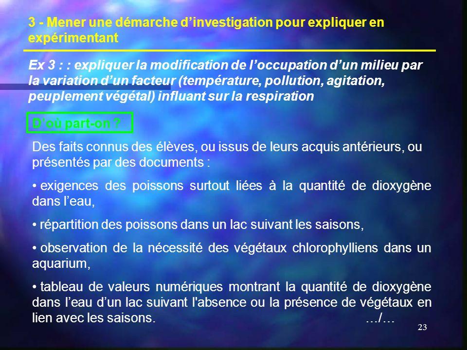 23 3 - Mener une démarche dinvestigation pour expliquer en expérimentant Ex 3 : : expliquer la modification de loccupation dun milieu par la variation dun facteur (température, pollution, agitation, peuplement végétal) influant sur la respiration Doù part-on .