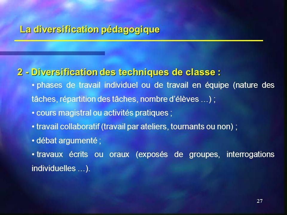 27 La diversification pédagogique 2 - Diversification des techniques de classe : phases de travail individuel ou de travail en équipe (nature des tâch