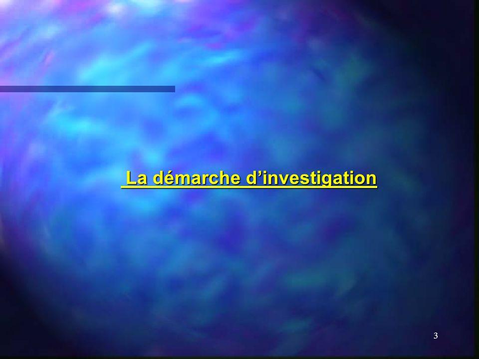 3 La démarche dinvestigation La démarche dinvestigation