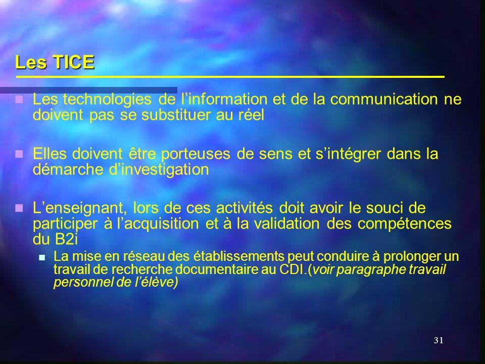 31 Les TICE Les technologies de linformation et de la communication ne doivent pas se substituer au réel Elles doivent être porteuses de sens et sinté