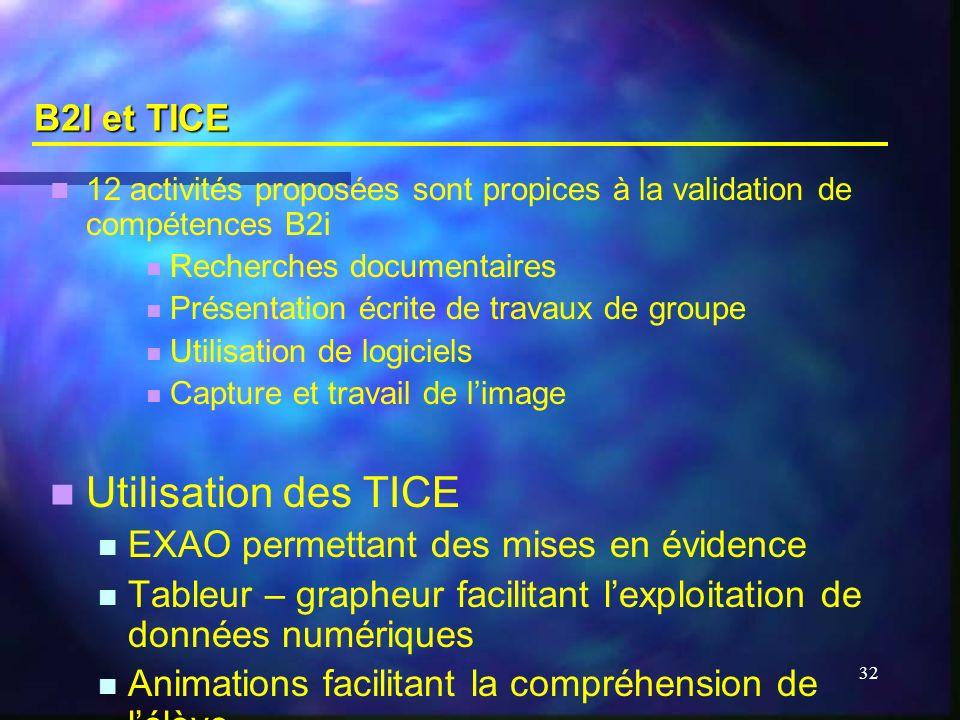 32 B2I et TICE 12 activités proposées sont propices à la validation de compétences B2i Recherches documentaires Présentation écrite de travaux de grou