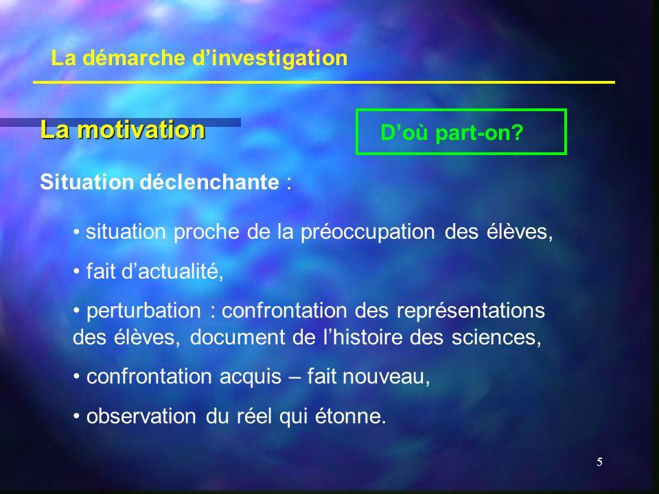 5 La démarche dinvestigation La motivation Doù part-on? situation proche de la préoccupation des élèves, fait dactualité, perturbation : confrontation