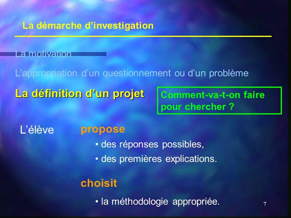 7 La démarche dinvestigation La motivation Lappropriation dun questionnement ou dun problème La définition dun projet Comment-va-t-on faire pour cherc