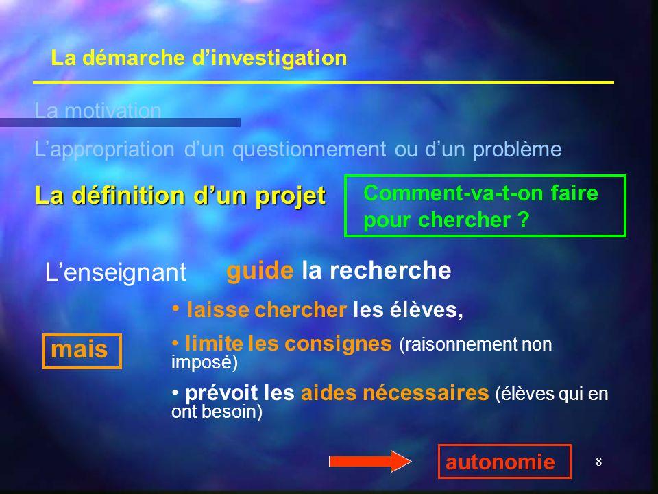 8 La démarche dinvestigation La motivation Lappropriation dun questionnement ou dun problème La définition dun projet Comment-va-t-on faire pour cherc