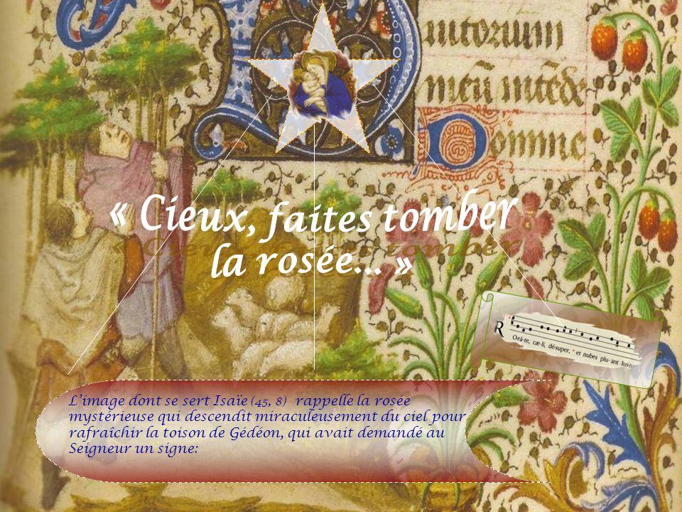 Limage dont se sert Isaïe (45, 8) rappelle la rosée mystérieuse qui descendit miraculeusement du ciel pour rafraîchir la toison de Gédéon, qui avait demandé au Seigneur un signe: