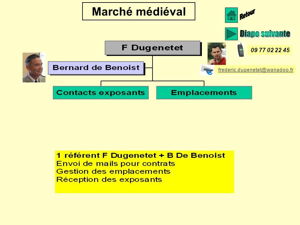 Marché médiéval 09 77 02 22 45 frederic.dugenetet@wanadoo.fr