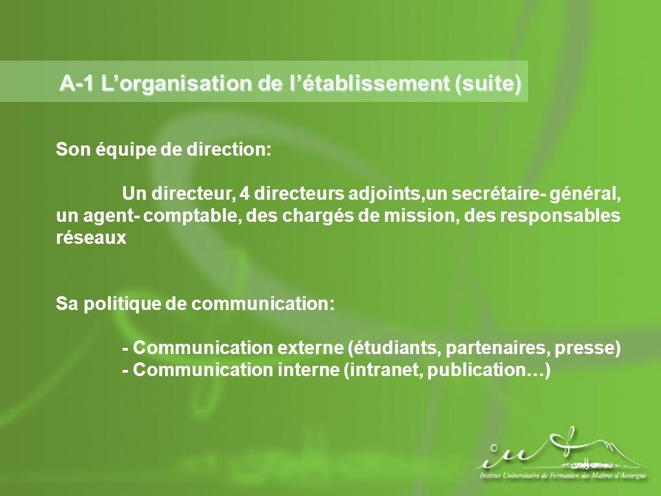 A-1 Lorganisation de létablissement (suite) Son équipe de direction: Un directeur, 4 directeurs adjoints,un secrétaire- général, un agent- comptable,