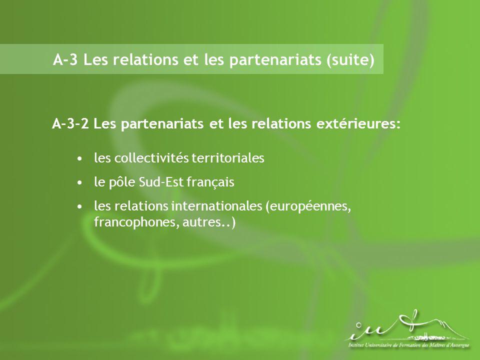 A-3 Les relations et les partenariats (suite) A-3-2 Les partenariats et les relations extérieures: les collectivités territoriales le pôle Sud-Est français les relations internationales (européennes, francophones, autres..)