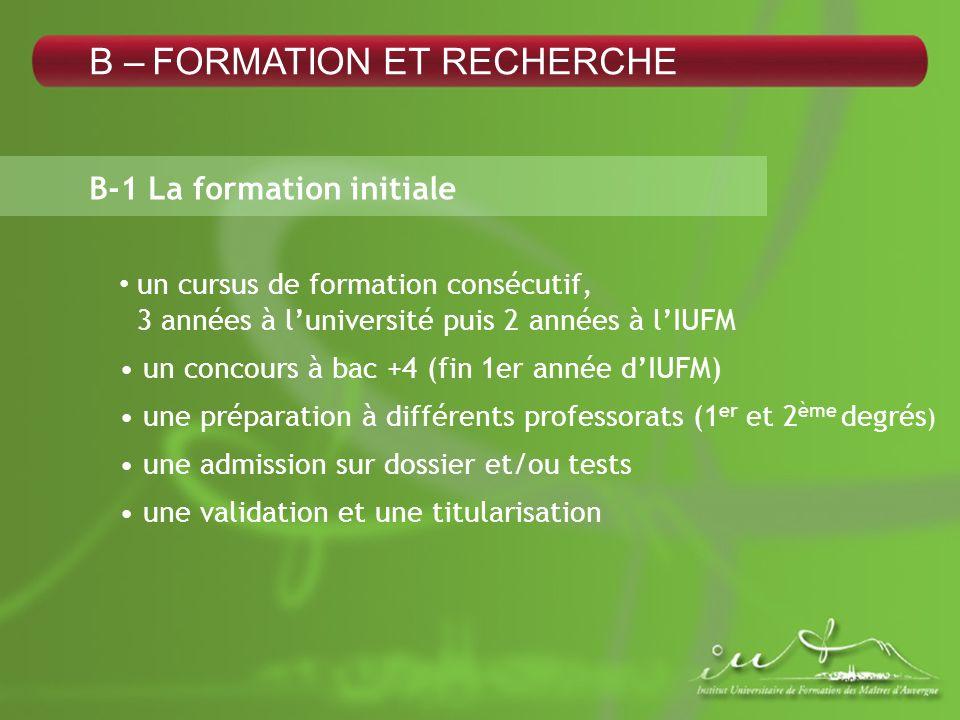 B – FORMATION ET RECHERCHE B-1 La formation initiale un cursus de formation consécutif, 3 années à luniversité puis 2 années à lIUFM un concours à bac