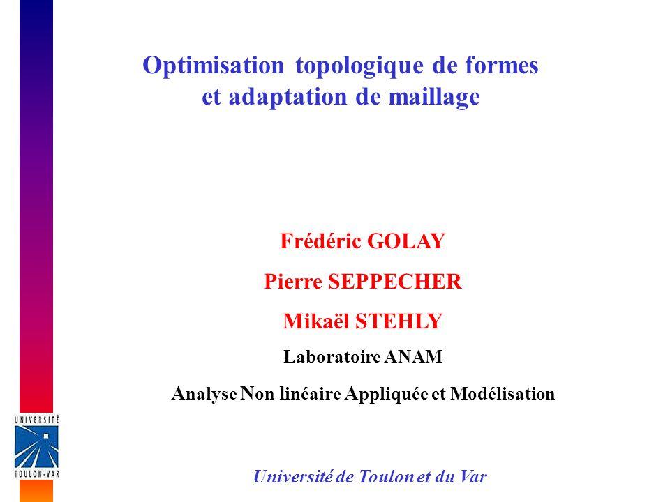 Optimisation topologique de formes et adaptation de maillage Frédéric GOLAY Pierre SEPPECHER Mikaël STEHLY Laboratoire ANAM A nalyse N on l inéaire A