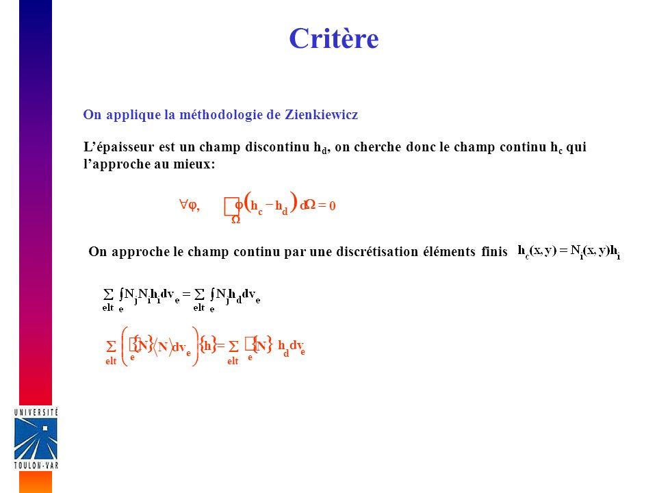 Critère On applique la méthodologie de Zienkiewicz Lépaisseur est un champ discontinu h d, on cherche donc le champ continu h c qui lapproche au mieux