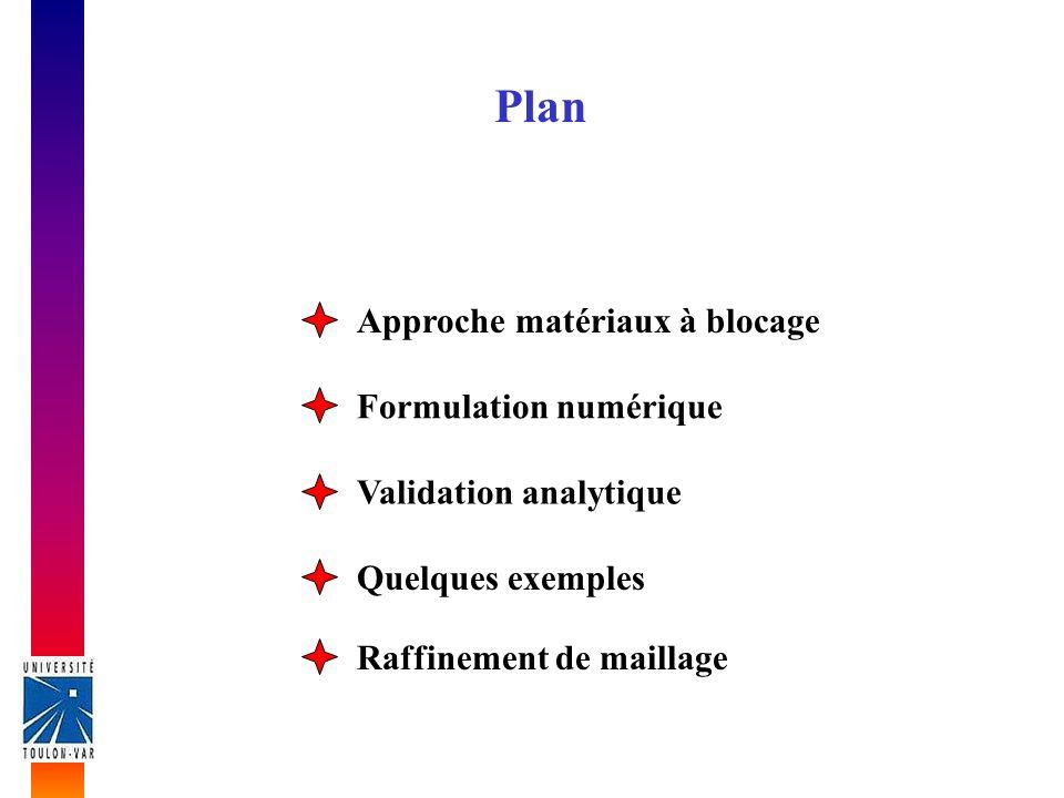 Plan Approche matériaux à blocage Formulation numérique Quelques exemples Validation analytique Raffinement de maillage