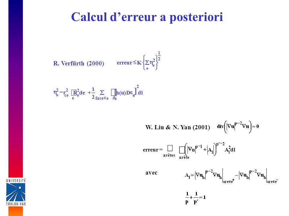 Calcul derreur a posteriori eface e 2 u dlD)u(h 2 1 e 2 ece deR 22 e r 2 1 e 2 e Kerreur R. Verfürth (2000) dlAAuerreur 2 l 2'p arêtes arête l 1p avec