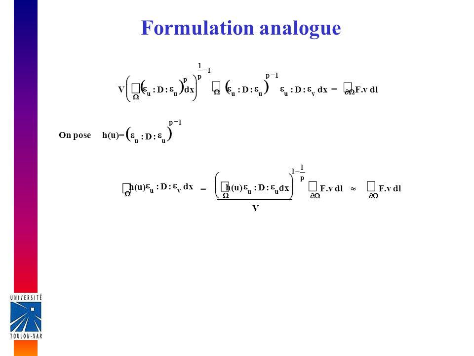 Critère On applique la méthodologie de Zienkiewicz Lépaisseur est un champ discontinu h d, on cherche donc le champ continu h c qui lapproche au mieux: 0 d, hh dc On approche le champ continu par une discrétisation éléments finis elt e e d e e dvh N h N N
