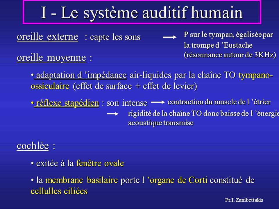 I - Le système auditif humain oreille externe : capte les sons oreille moyenne : adaptation d impédance air-liquides par la chaîne TO tympano- ossicul