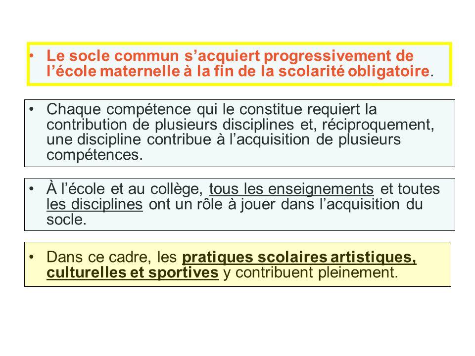 Le socle commun sacquiert progressivement de lécole maternelle à la fin de la scolarité obligatoire.