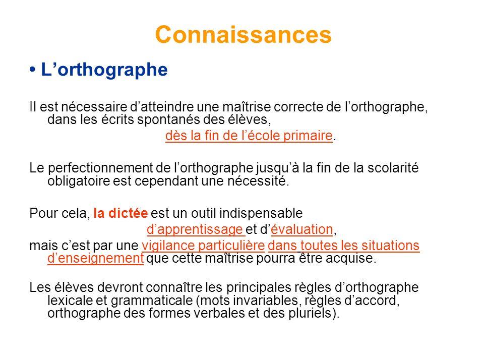 Lorthographe Il est nécessaire datteindre une maîtrise correcte de lorthographe, dans les écrits spontanés des élèves, dès la fin de lécole primaire.
