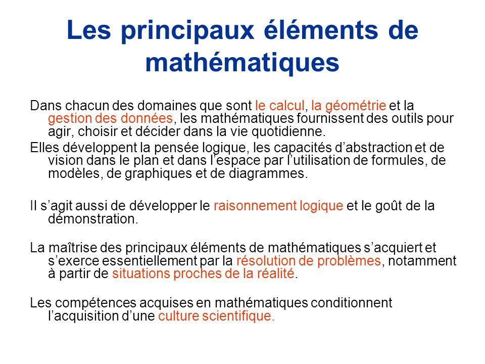Les principaux éléments de mathématiques Dans chacun des domaines que sont le calcul, la géométrie et la gestion des données, les mathématiques fournissent des outils pour agir, choisir et décider dans la vie quotidienne.