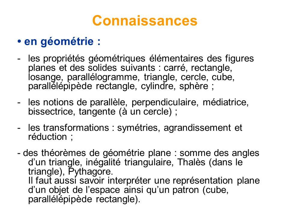 en géométrie : - les propriétés géométriques élémentaires des figures planes et des solides suivants : carré, rectangle, losange, parallélogramme, triangle, cercle, cube, parallélépipède rectangle, cylindre, sphère ; -les notions de parallèle, perpendiculaire, médiatrice, bissectrice, tangente (à un cercle) ; -les transformations : symétries, agrandissement et réduction ; - des théorèmes de géométrie plane : somme des angles dun triangle, inégalité triangulaire, Thalès (dans le triangle), Pythagore.