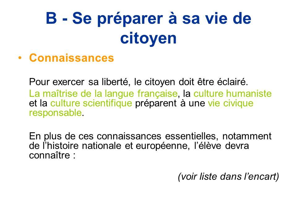 B - Se préparer à sa vie de citoyen Connaissances Pour exercer sa liberté, le citoyen doit être éclairé.