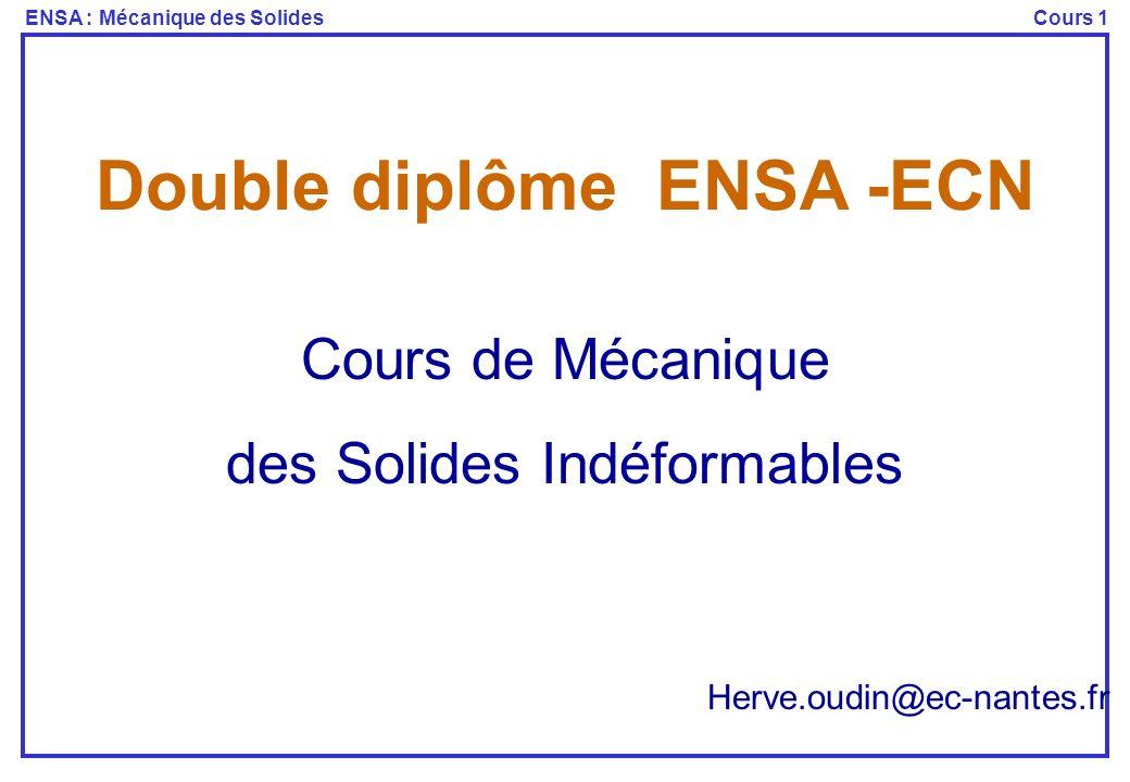 ENSA : Mécanique des SolidesCours 1 Double diplôme ENSA -ECN Herve.oudin@ec-nantes.fr Cours de Mécanique des Solides Indéformables