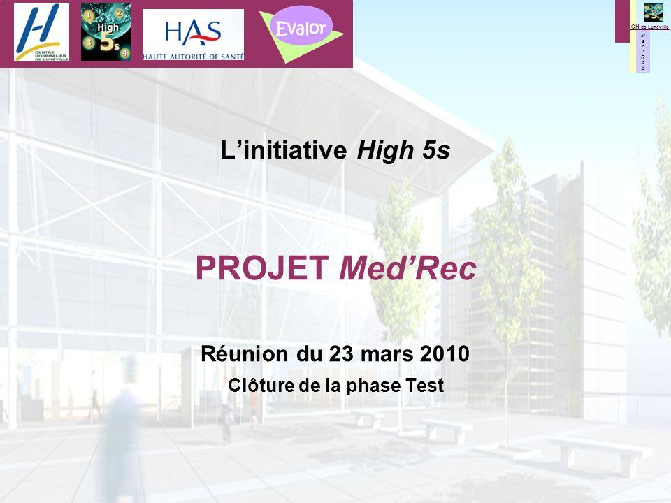 M e d R e c M e d R e c CH de Lunéville Linitiative High 5s PROJET MedRec Réunion du 23 mars 2010 Clôture de la phase Test