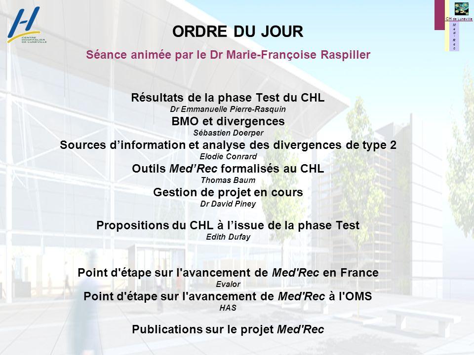 M e d R e c M e d R e c CH de Lunéville Séance animée par le Dr Marie-Françoise Raspiller Résultats de la phase Test du CHL Dr Emmanuelle Pierre-Rasqu